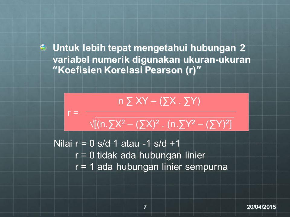 √[(n.∑X2 – (∑X)2 . (n.∑Y2 – (∑Y)2]